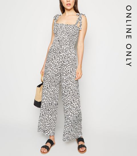 393f0be08feb ... White Leopard Print Tie Strap Shirred Jumpsuit ...