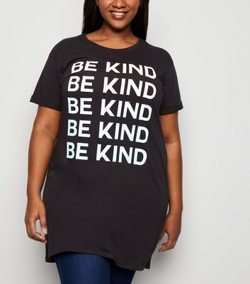 Curves Black Be Kind Slogan T-Shirt