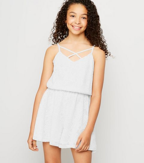 fced7659bba Girls White Lace Playsuit · Girls White Lace Playsuit ...