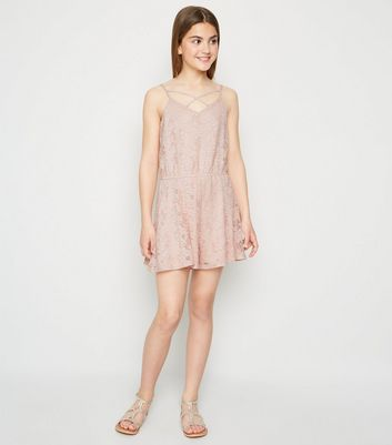 Girls Pale Pink Lace Playsuit