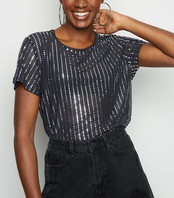 Black Mesh Metallic Stripe Crop Top