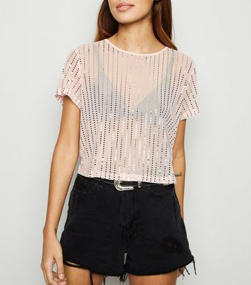 Pink Mesh Metallic Stripe Crop Top