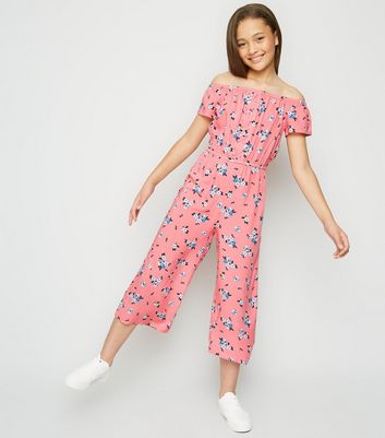 Girls Pink Floral Lattice Front Bardot Jumpsuit