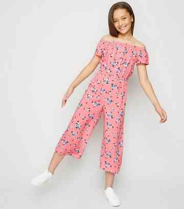 75e281524b9d Girls Pink Floral Lattice Front Bardot Jumpsuit ...
