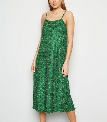 Green Ditsy Floral Plissé Slip Midi Dress