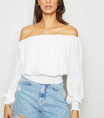 Off White Chiffon Bardot Top