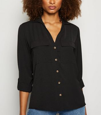 Black Button Up Utility Shirt