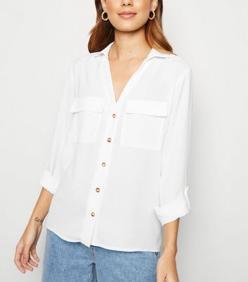 Off White Button Up Utility Shirt