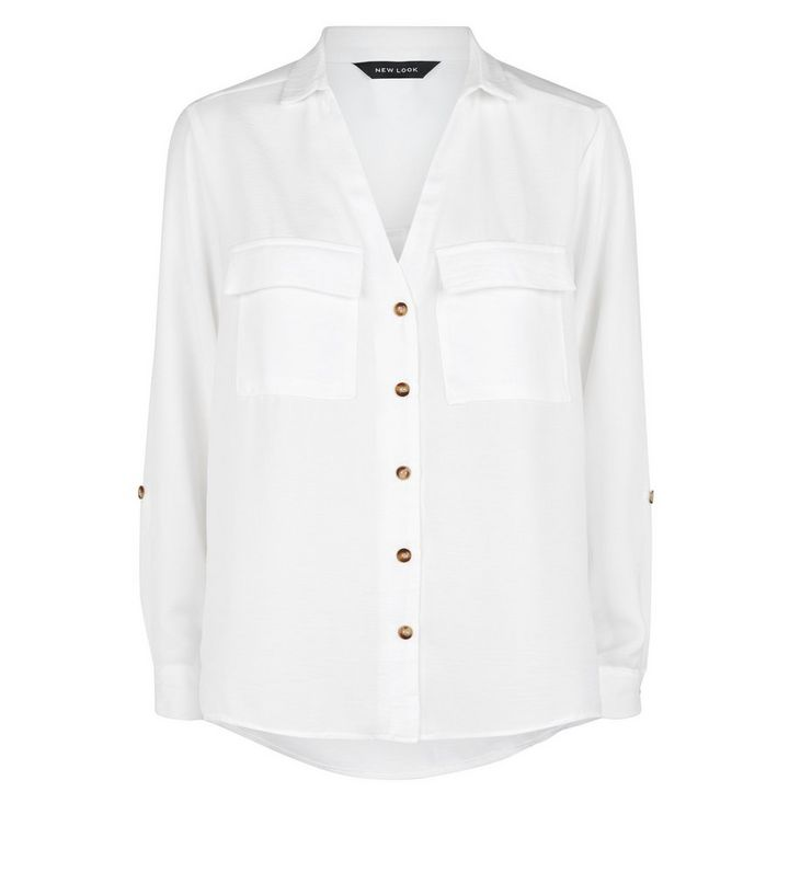 afb6cb60 Off White Button Up Utility Shirt | New Look