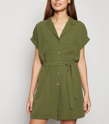 Khaki Revere Collar Playsuit
