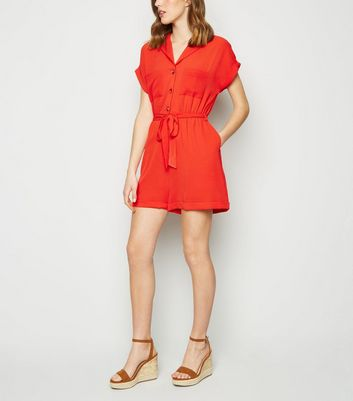 Red Revere Collar Playsuit
