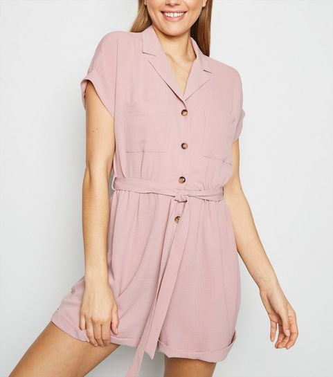 f55ffeae55 ... Pale Pink Revere Collar Playsuit ...