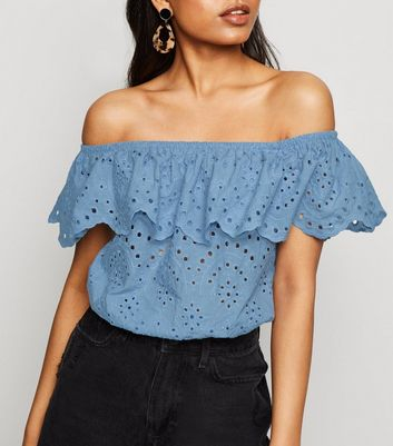 Petite Pale Blue Broderie Crop Bardot Top