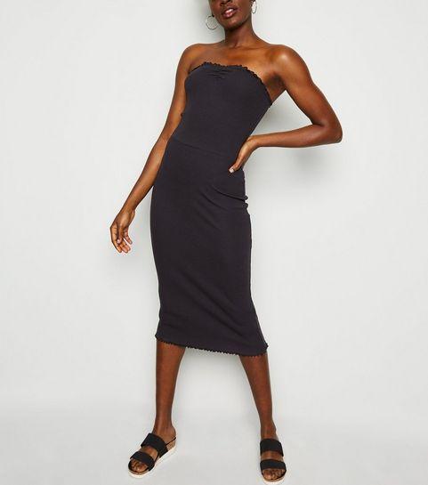 c54097ca5 ... Black Frill Trim Jersey Midi Dress ...