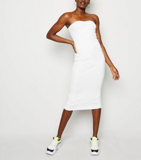 06988d63f2 ... White Ribbed Jersey Midi Dress ...
