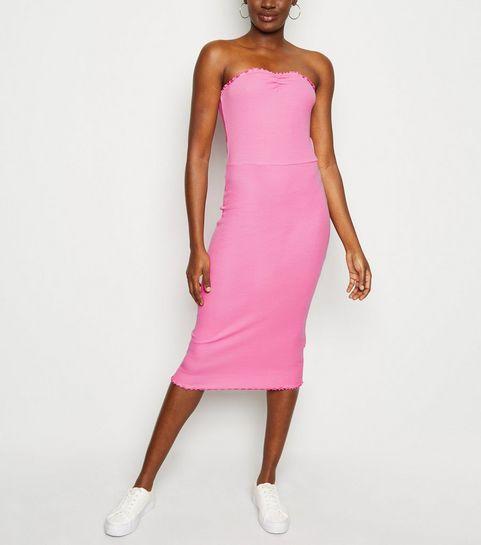 0d4880ddb ... Bright Pink Ribbed Jersey Midi Dress ...