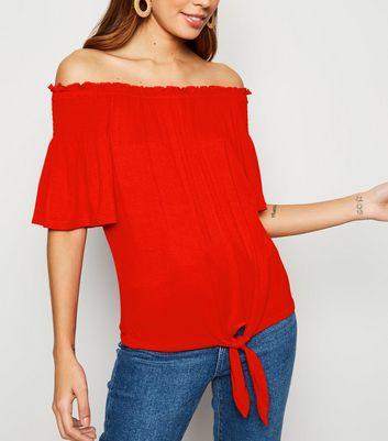 Red Bell Sleeve Tie Front Bardot Top