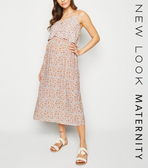 600e2a43a93 ... Maternity White Ditsy Floral Midi Dress ...