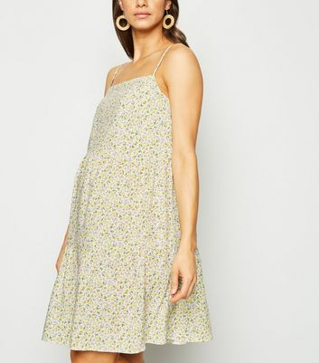 Maternity Cream Ditsy Floral Tiered Smock Dress