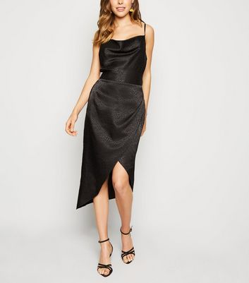 Black Satin Spot Jacquard Midi Dress