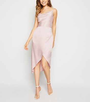 Pale Pink Satin Spot Jacquard Midi Dress