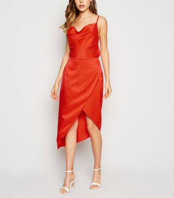 Orange Satin Spot Jacquard Midi Dress by New Look