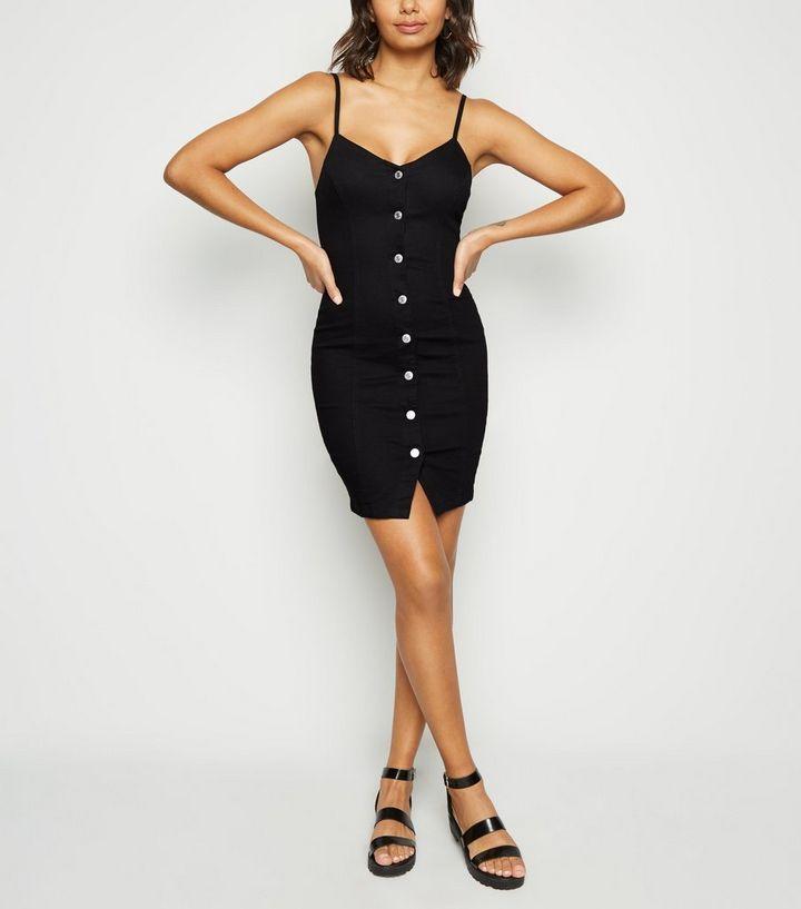 05007ea89b Black Button Up Denim Bodycon Dress