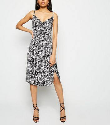 Petite White Satin Leopard Print Midi Dress
