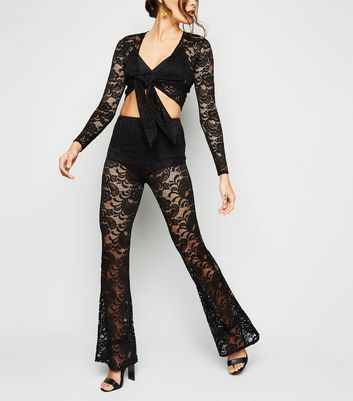 Black Lace Flared Trousers