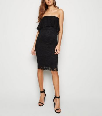 Black Lace Bandeau Bodycon Dress