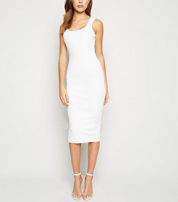 White Ribbed Square Neck Bodycon Dress
