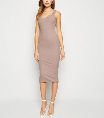 Mink Ribbed Square Neck Bodycon Dress