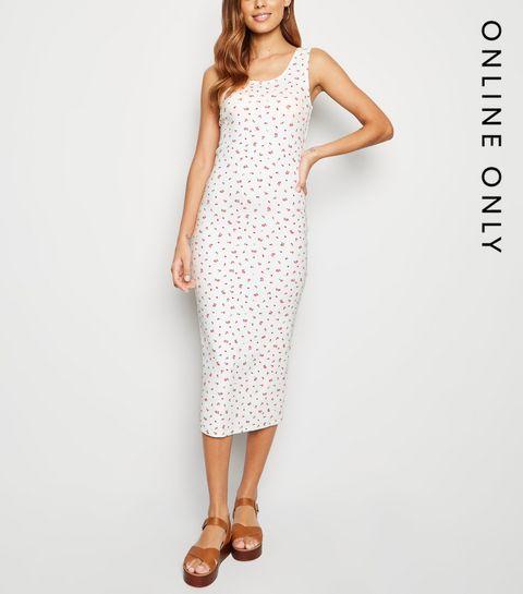 4b8307f4563 ... White Floral Print Bodycon Midi Dress ...