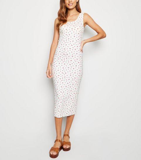 d4a409d88c2 ... White Floral Print Bodycon Midi Dress ...