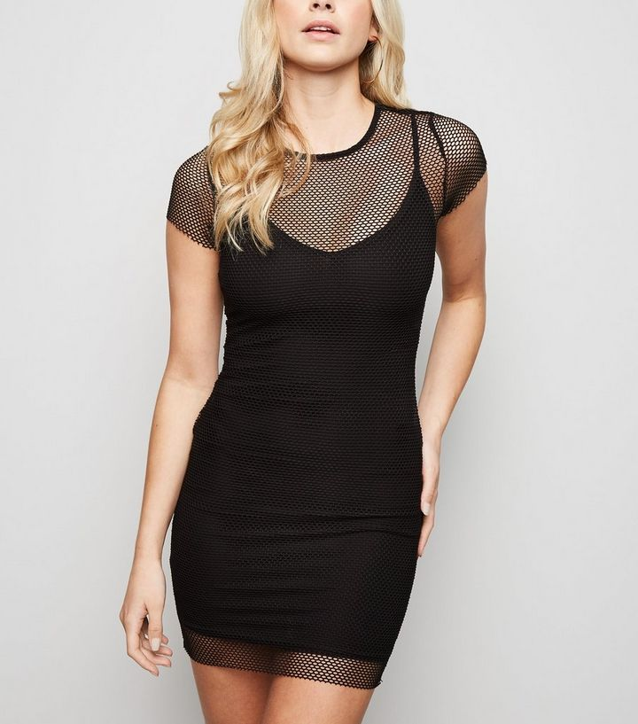 812bd972cb00 Black Fishnet Mini Dress | New Look