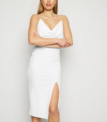 White Cowl Neck Side Split Midi Dress