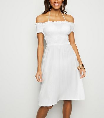 White Glitter Shirred Bardot Beach Dress