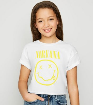 Girls White Nirvana Logo T-Shirt