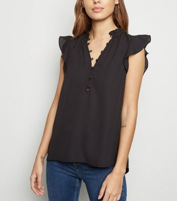 Black Button Up Sleeveless Shirt