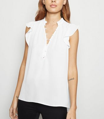 Off White Button Up Sleeveless Shirt