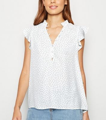 White Spot Button Up Sleeveless Blouse