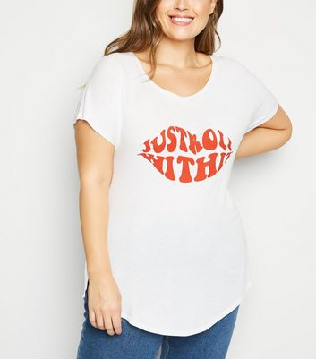 Curves White Just Roll With It Slogan T-Shirt