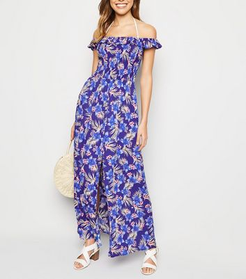 Blue Floral Bardot Beach Maxi Dress
