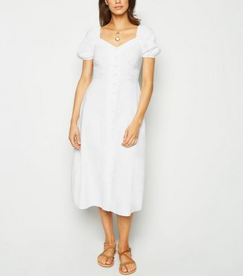 White Linen Blend Button Up Milkmaid Dress