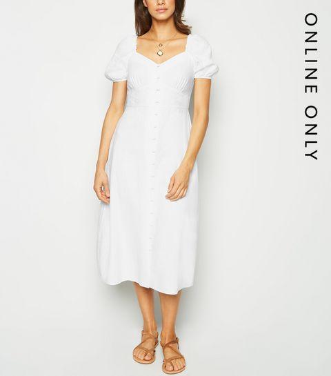 fd9b56c0a92 ... White Linen Blend Button Up Milkmaid Dress ...