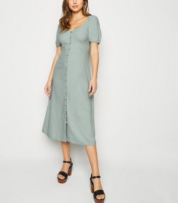 Mint Green Linen Blend Button Up Milkmaid Dress