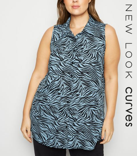 f9cb955a0e6de ... Curves Blue Tiger Print Sleeveless Shirt ...