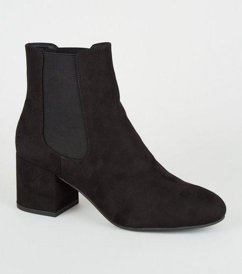00963acafe136 ... Black Suedette Mid Block Heel Chelsea Boots ...