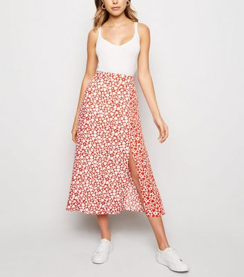 Red Heart Print Side Split Midi Skirt