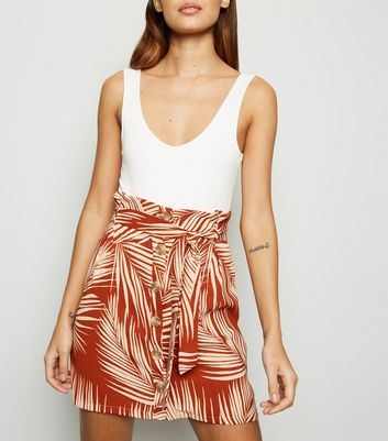 Rust Palm Leaf Print Button Front Skirt